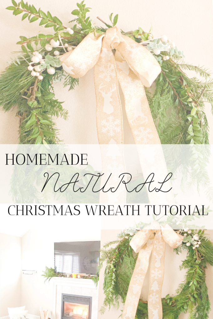 homemade natural christmas wreath tutorial farmhouse christmas wreath DIY christmas wreath Christmas DIY ideas simple farmhouse christmas wreath