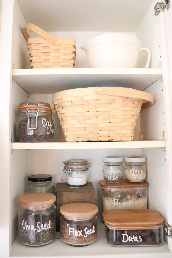 Organizing your spice cabinet and smoothie ingredients in your farmhouse kitchen.   #farmhousekitchen #spicerack #kitchenorganization #simpleorganization