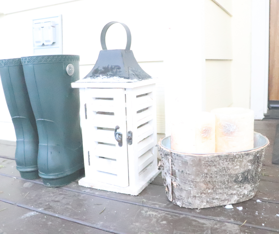 boots and candles for winter entryway