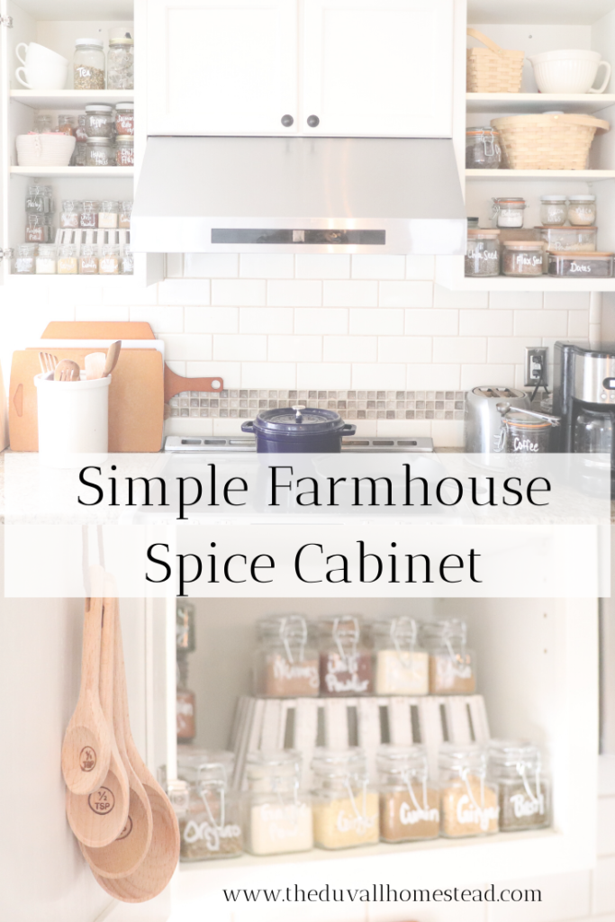 Farmhouse spice rack organization. How to organize your kitchen and spice cabinets naturally  #spicerack #farmhousekitchen #spicecabinetorganization #kitchenorganization #howtoorganizeyourspicerack #spices #kitchen #organization