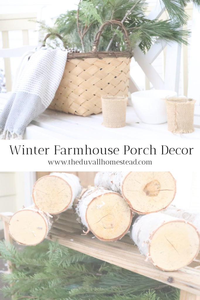 How to Decorate the Porch for Winter   Mountain Farmhouse Home Décor   Simple Farmhouse Winter Front Porch Ideas  #farmhouse #winterfrontporch #howtodecorateforwinter #winterporchideas #homestead #homesteading #cultivatingahomestead #frontporch #simplewinterdecorideas #decorthatspeakslife #homemade #porchideas #farmhouseideas #farmhouseliving