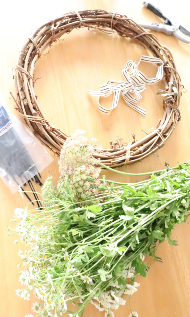 use ribbon in your simple DIY spring farmhouse wreath