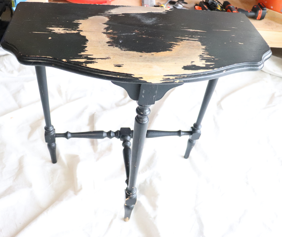 before picture: wooden side table all black