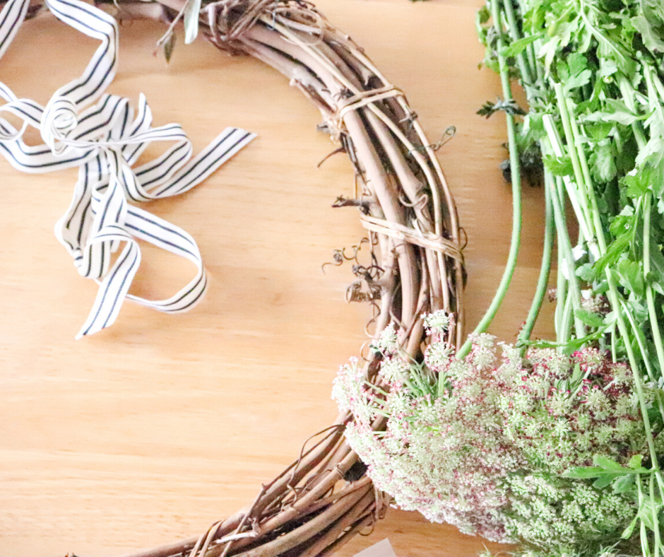 grapevine wreath frame and florals for a DIY wreath tutorial
