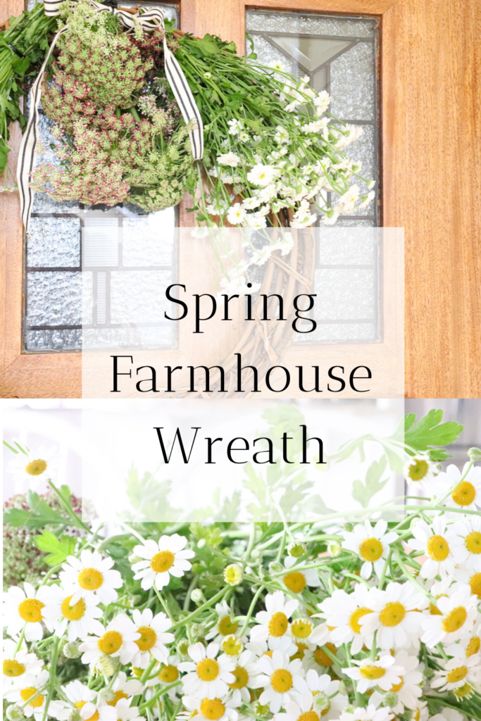 How to make a simple spring farmhouse wreath with fresh flowers. I love spring! Bringing in new flowers give your home a fresh scent and also just brings new life into the room. This wreath could go on your tabletop decor or the front door during spring time. Grab your favorite flowers, a wreath frame, and cable ties to make this simple spring wreath.   #spring #farmhouse #flowers #wreath #howtomakeawreath #homemade #diy #diywreath #homemadewreath #fresh #beautiful #simple #cheap #easy #homestead