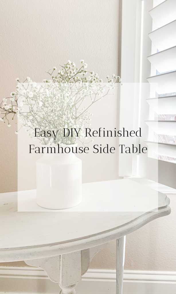 Super easy & cheap DIY - Refinished wood antique farmhouse side table. Working in the tool shed is not scary! Learn how to refinish and paint an old wood farmhouse table with this simple tutorial.   #diy #farmhouse #wood #refinish #white #projects #simple #cheap #easy #doityourself #sidetable #homedecor #livingroom #decor #paint