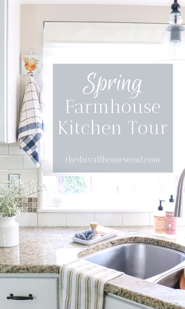 Spring Farmhouse Kitchen Tour | 10 simple, easy ways to add farmhouse touch to your kitchen this spring  #diy #farmhouse #decor #spring #kitchen #homedecor #farmhousedecor #driedherbs #herbs #howtodryherbs #inspiration #beautiful #cheap #easy #simple
