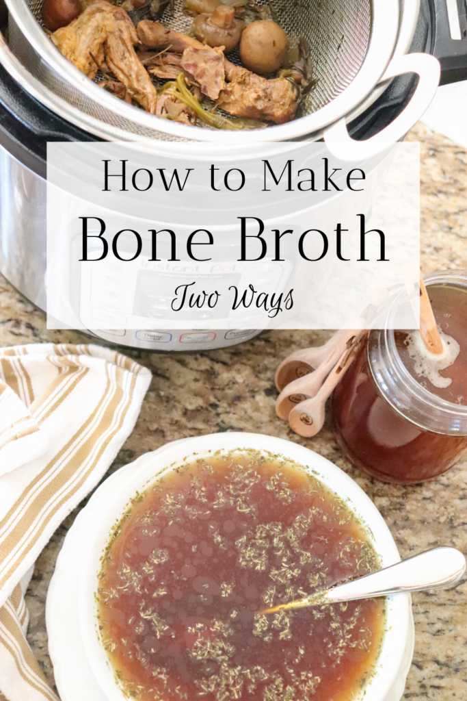 Learn how to make homemade bone broth two ways! For the best juicy and savory stovetop and instant pot drinkable bone broth recipe, go to www.theduvallhomestead.com/bone-broth   Thanks for stopping by the homestead!  #bonebroth #homemadebonebroth #howtomakebonebroth #bonebrothintheinstantpot #bonebrothonthestove #chickenstock #howtomakechickenstock #homemadechickenstock #instantpotbonebroth #drinkablebonebroth  #bonebrothrecipe #drinkablebonebroth