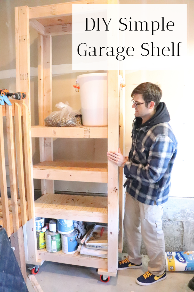 This simple and cheap DIY shelf can be used to store canned food items, animal food, household goods, garage items, craft tools, and more.  Come build a DIY garage shelf with us!   #diygarageshelf #diy #diyshelf #homemade #handmade #diyideas #garageshelf #shelving #diyshelving #storageideas #storage #garage #garageideas #optimization #minimalism #organization #cleanhome #homestead #farmhouse #farmhousegaragestorage #farmhousestorage #simplestorageideas #customshelving #diycheapshelf #diysimpleshelf