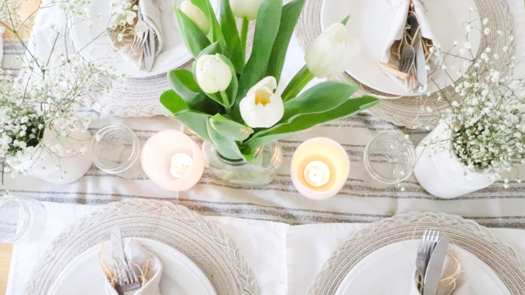 spring tablescape farmhouse simple cheap easy beautiful homestead Easter table setting Tulips