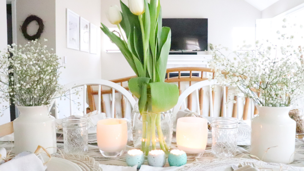 spring tablescape farmhouse simple cheap easy beautiful homestead Easter table setting