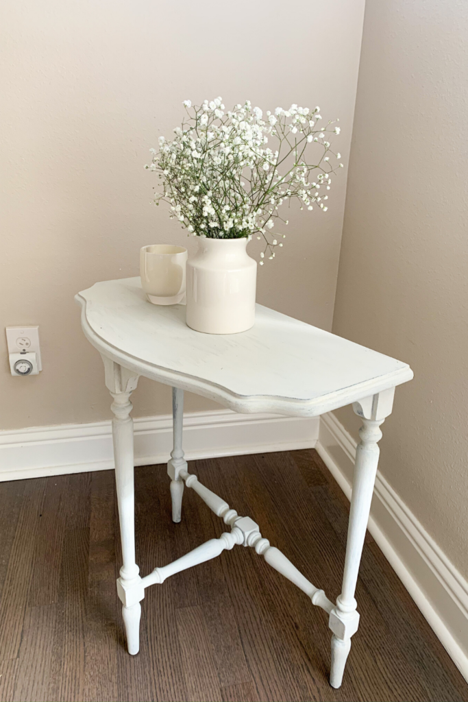 DIY white antique refinished side table