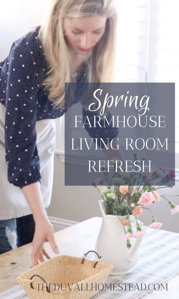 SPRING FARMHOUSE LIVING ROOM TOUR   Having a cozy, warm, and beautiful living room is important to us because we use this space SO much. Come see how we added spring farmhouse charm to our very simple and homegrown living room.   #spring #farmhouse #livingroom #refresh #tour #homesweethome #countryliving #homestead #minimal #hygge #hyggehome #homedecor #home #decor #inspiration #ideas #beautiful #natural #simple