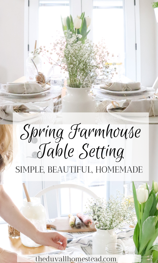 It only takes a few simple spring touches to make a tablescape for brunch. These 5 simple tips will make your farmhouse table beautiful and ready for spring!   #farmhouse #spring #table #tablesetting #tablescape #Easter #tableideas #inspiration #ideas #minimalist #homestead #home #decor #kitchen #flowers #tulips