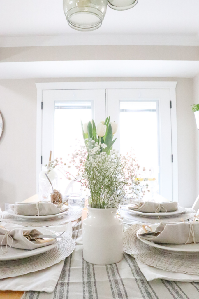 Spring tablescape ideas inspiration farmhouse simple table setting spring brunch ideas neutral colors shades of white Spring brunch table