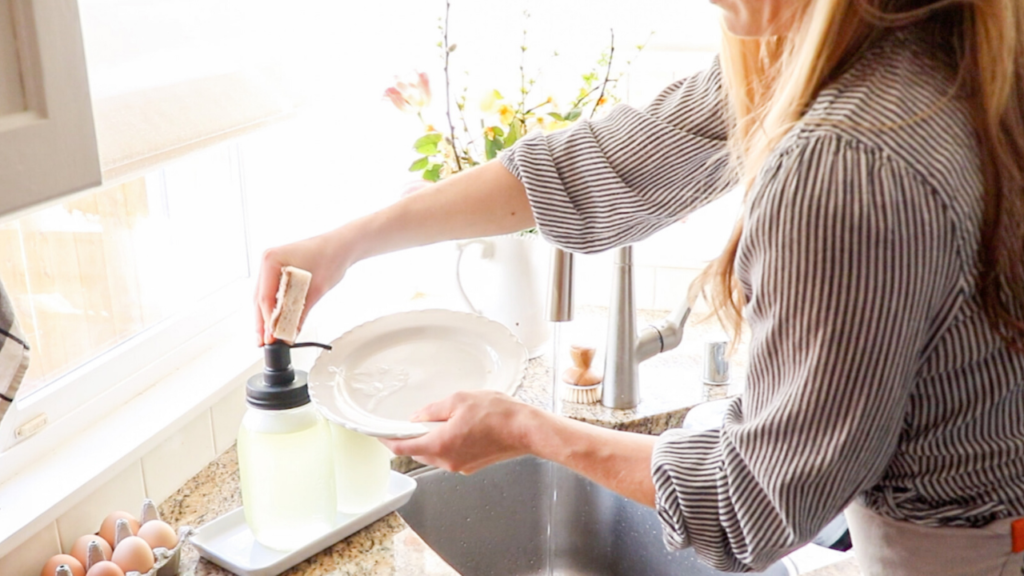 Washing dishes with all-natural homemade dish soap