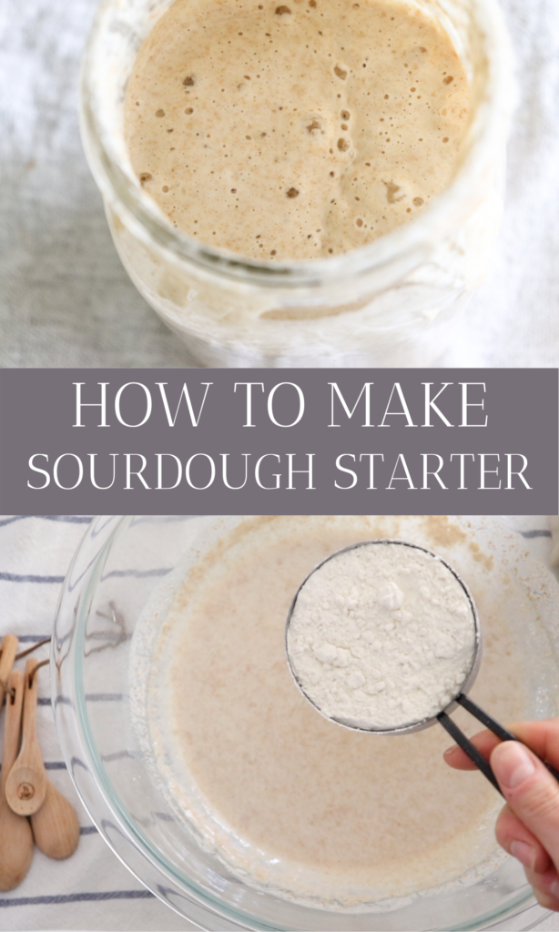 All about how to make sourdough starter. Easy recipe with flour and water only. Make delicious bread and eat grain that is good for your gut!  #sourdough #starter #howtomakesourdoughstarer #yummy #food #recipes #delicious #bread #guthealthy #easy #simple #homemade #food #breadmaking #sourdoughstarter #homesteading #homemaking #farmhouse