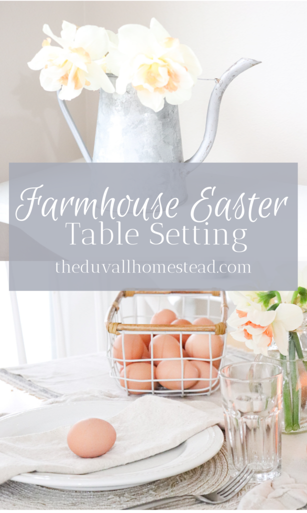 Light and natural farmhouse Easter table setting ideas. Farm-to-table ways to add warmth and beauty to your farmhouse table for Easter.   #easter #table #setting #farmhouse #tablescape #homedecor #decorating #budget #easy #diy #simple #homestead #farmhousedecor #decor #table #diningroom