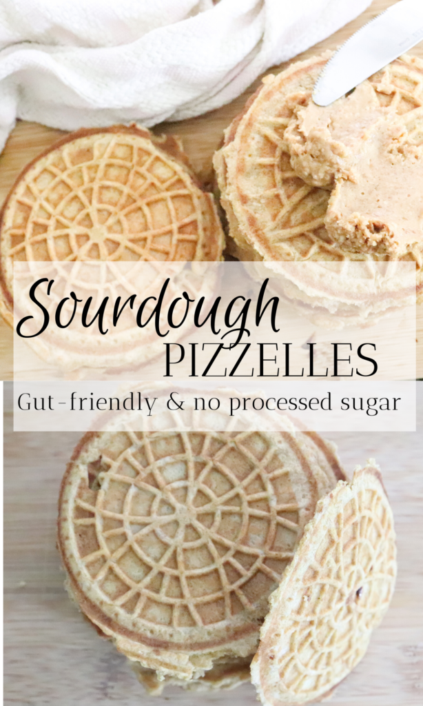 These sourdough pizzelles are the perfect gut-healthy treat, or lather them with peanut butter for lunch. So many options! With no added artificial sugar, these pizzelles are a great snack recipe for kids too.   #snacks #pizzelles #sourdough #guthealthy #gut #friendly #fermented #healthy #breakfast #dessert #noaddedsugar #noartificalsugar #treat #homemade #healthydessertideas #ideas #recipes #foodie #yummy #delicious #food #cookies #waffles #simple #easy #kidfriendly