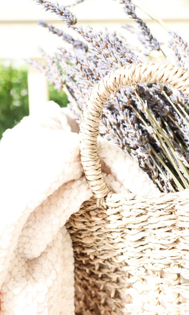 Beautiful Lavender in a basket at the farmhouse