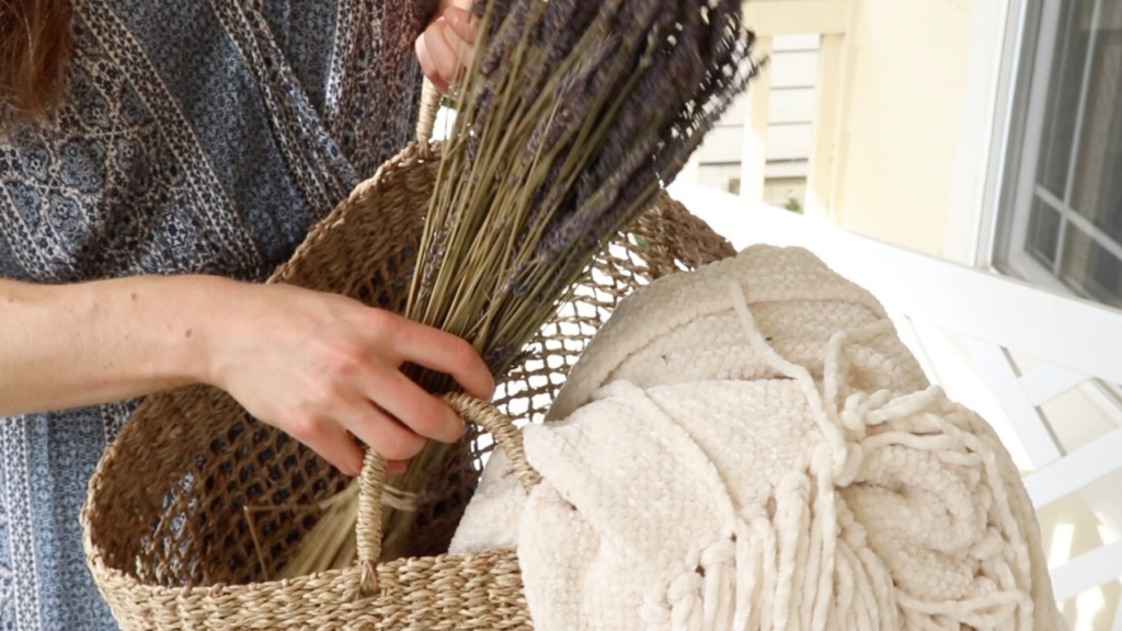Lavender and a throw inside the woven basket