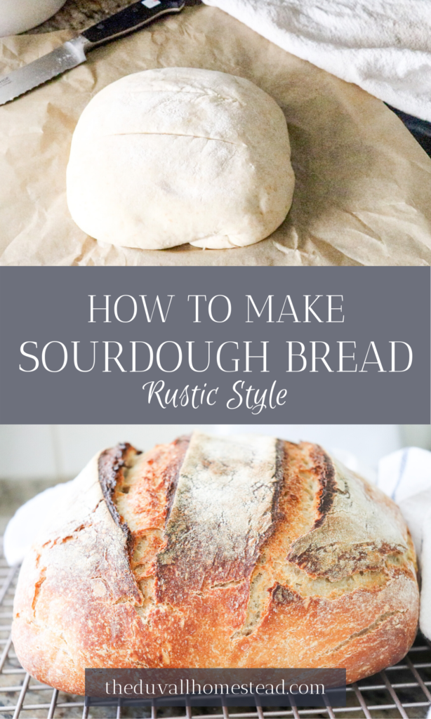 How to make rustic sourdough bread with a sourdough starter. Nothing draws people together more than the smell of rustic bread in the oven!   #bread #sourdough #sourdoughbread #rustic #sourdoughstarter #howtomakebread #howtomakesourdoughbread #sourdoughbreadforbeginners #beginner #simple #tutorial #stepbystep #easy #healthy #dinner #healthymealideas #healthydinner #food #foodie #recipes #mealideas #farmhouse