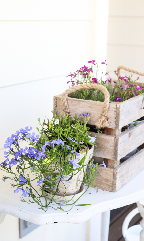 Mixed flowers in wood crate  #frontporch