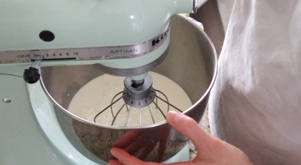 Mixing cream in a stand up mixer