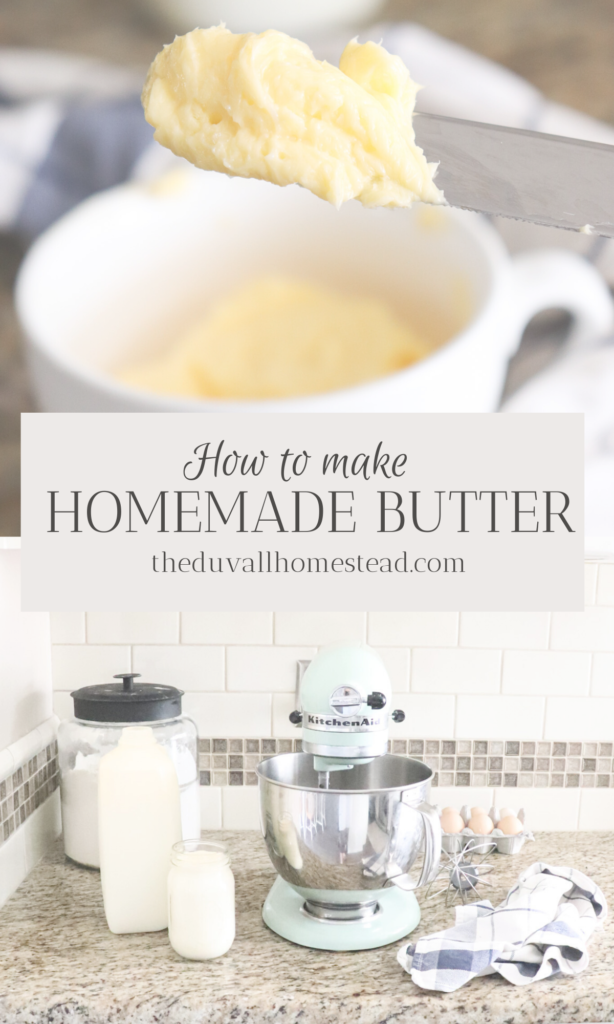 Learn how to make your own homemade butter from cream!  #howtomakebutter #homemadebutter #farmfresh #butter #recipe #tutorial #simple #mixer #easy #healthy #guthealthy #rawmilk #heavycream #fromscratach #homemade