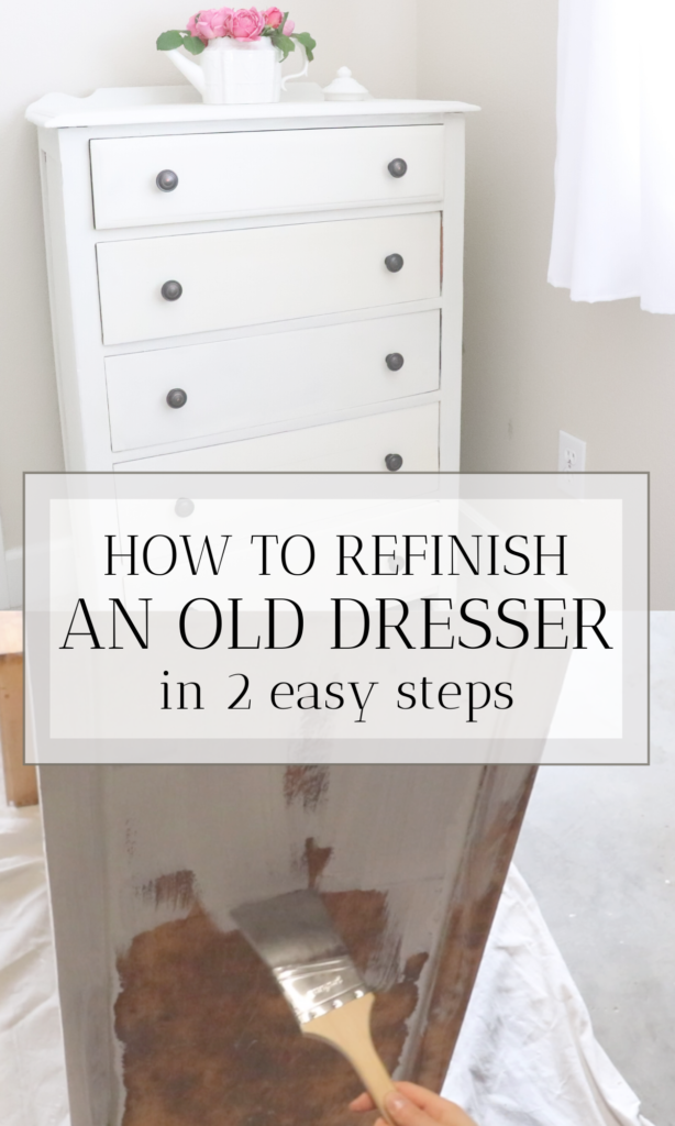 How to refinish a dresser. We needed a classic looking dresser for our farmhouse bedroom, so we found an old one and refinished it. It was so easy and took a couple of hours.   #refinish #dresser #farmhouse #howtorefinish #paintcolors #farmhousepaint #milkpaint #easy #simple #diy #refurbish #antique #old #furniture #wood #homemade #howto #bedroom #classic