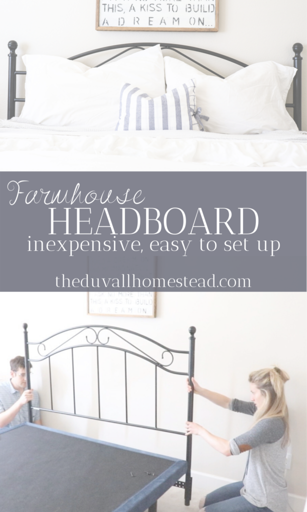 This beautiful headboard was inexpensive and easy to install. Sharing how to install a headboard into your existing bed frame and what you'll need to be successful in under 3 hours.   #farmhouse #bedroom #bedframe #headboard #farmhouseheadboard #homedecor #room #home #decor #simple #homestead #inspo #diy #inexpensive #black #steel #blacksteelheadboard