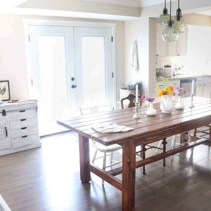 how to build a farmhouse table free plans DIY wood dining table