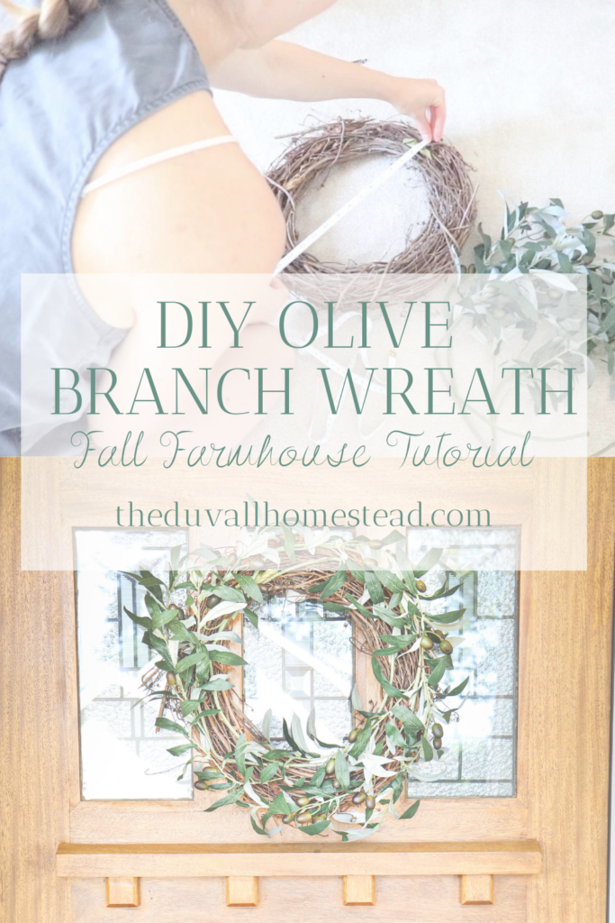 Learn how to make a DIY Olive Branch Wreath for your handmade fall farmhouse decor. Simple and beautiful!  #fall #wreath #diy #olivebranch #olivewreath #frontporch #falldecor #farmhousedecor #farmhouse #fall #homestead #falldecorating #ideas #inspiration #fallinspiration #farmhousestyle #simple #diy #easy #cheap #fallfarmhouse #wreathideas #wreathinspo #fallwreath
