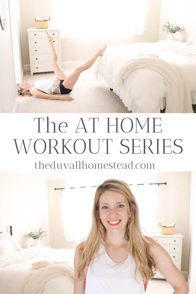Join the at home workout series on theduvallhomestead.com! Working out at home can be easy with just a few simple steps. I will show you everything you need to do from fitting workouts into your schedule to finding motivation, and then we'll do a 30 minute at-home workout together! See you in the homestead studio.   #athomeworkouts #exercise #homeworkouts #core #strength #cardio #easy #beginner #motivation #inspiration #fun #healthyliving #healthy #healthylifestyle
