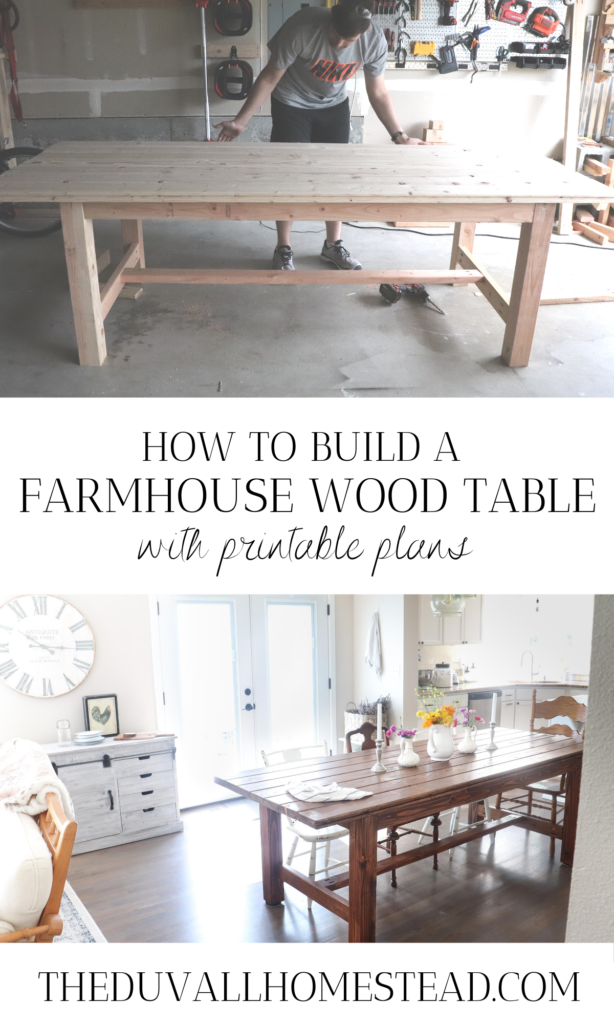 Learn how to build the farmhouse dining table of your dreams. Farmhouse dining tables are no new feat, but can be added into any home for a sense of warmth, character, and good 'ol fashion togetherness. Printable plans included!  #farmhousediningtable #howtobuildadiningtable #farmhouse #table #plans #easy #diy #wood #simple #table #dining #homedecor #farmhousedecor #diningroom #inspiration #inspo