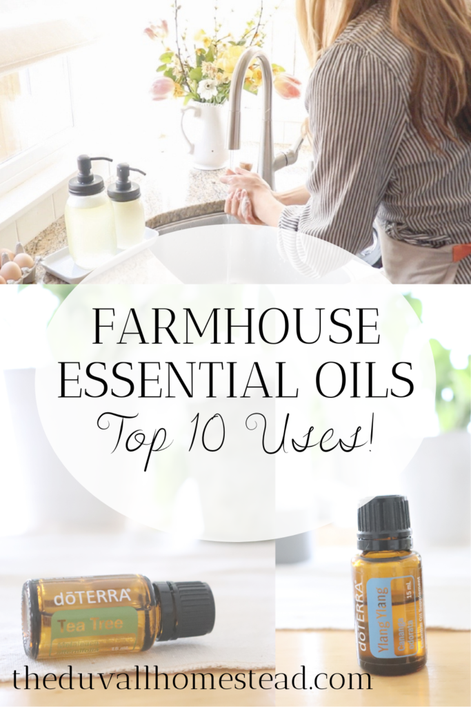 I love to keep an all natural home, so I use a lot of essential oils around the farmhouse. Today I'm sharing my best uses for essential oils if you're looking to start an all natural lifestyle.  #essentialoils #allnatural #natural #lifestyle #bestessentialoils #rollerbottles #blends #recipes #diyproducts #homemade #naturalremedies #alternativemedicine #cleaningroutine #cleanerrecipes