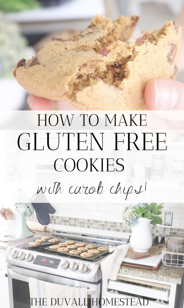 Make these delicious gluten free cookies that are chewy and use carob chips, a healthier version of chocolate with less sugar and zero caffeine. Our go to for all things sweet by healthy!  #carobchips #glutenfree #cookies #fallrecipes #warmcozyrecipes #cozyfallrecipes #glutenfreecookies #cookierecipe #carobchipcookies