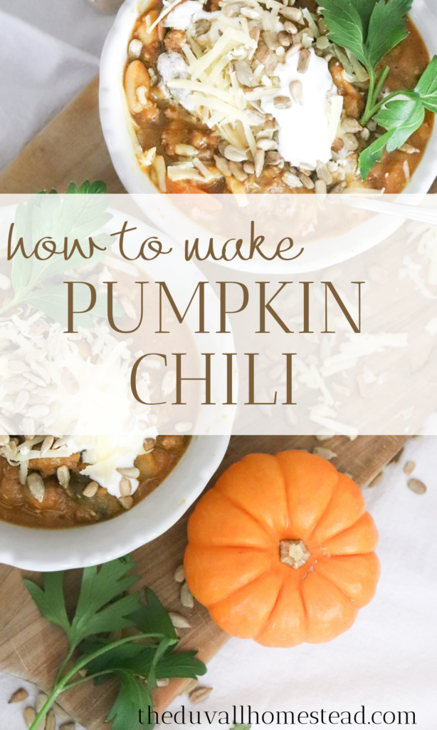 This delicious and healthy pumpkin chili with lamb is the perfect dinner after a long day out in the cold. Grab your sour cream and corn bread and make this easy pumpkin chili recipe.  #pumpkin #chili #pumpkinchili #howtomakepumpkinchili #bestchilirecipe #chilirecipe #chili #fall #recipes #dinner #healthy #family #easy #delicious #fallchili #chilicookoff #cookoff #soups #bonebroth #lamb #beef #pumpkin