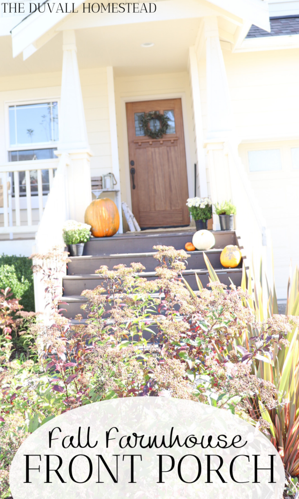 Cozy knit patterns, apple cider, red leaves, pumpkins, and a cool breeze at night means fall is here!  Learn 6 ways to create a warm cozy fall farmhouse front porch this year.  I always keep things super simple, with farm fresh pumpkins and a little DIY grain sack pillow.  #farmhouse #frontporch #falldecor #farmhousefall #frontporchideas #farmhousehomedecor #porch #fallporch #fall
