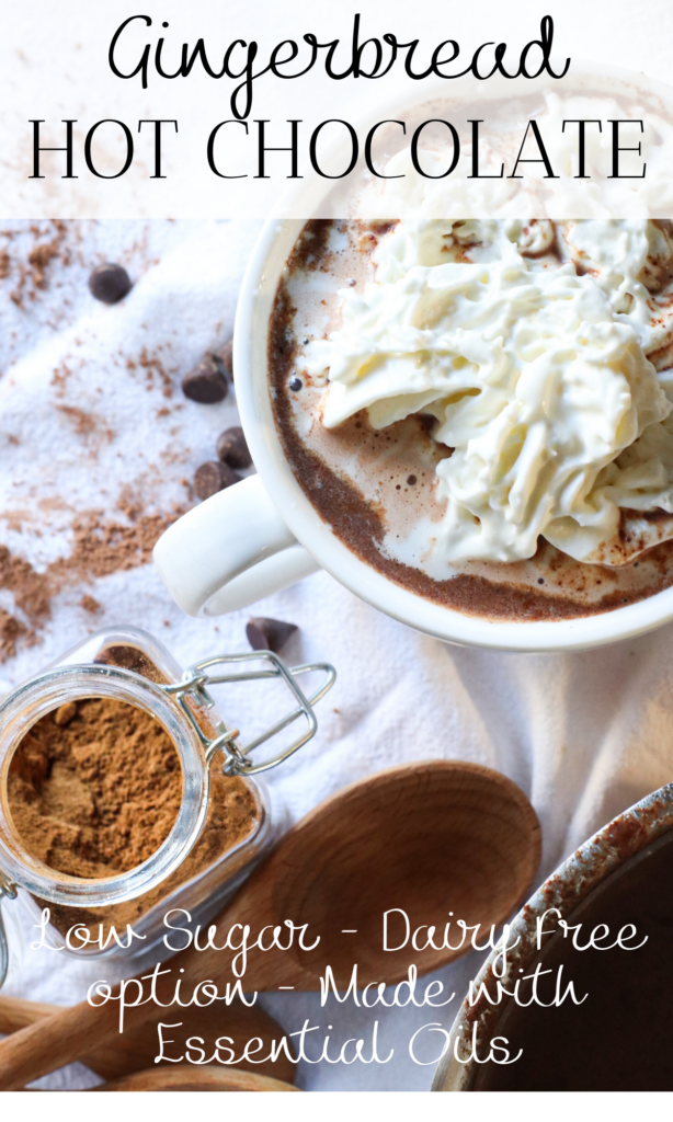 Join me as a I make gingerbread hot chocolate with essential oils in this healthy hot cocoa recipe for Christmas. This low sugar, all natural ingredients hot chocolate recipe is the perfect drink on a cold day setting up Christmas lights. You can even make this dairy free by using almond or coconut milk instead of cow's milk.   #gingerbreadhotcocoa #homemadehotchocolate #hotchocolate #hotcocoa #healthy #healthyhotcocoa #christmas #recipes #chocolate #gingerbread #christmashotcocoa #essentialoils #ginger #homestead #farmhouse #organic #healthy #cooking #foodie #farm #naturalliving #fromscratch #wholesome  #countryliving #healthyrecipes