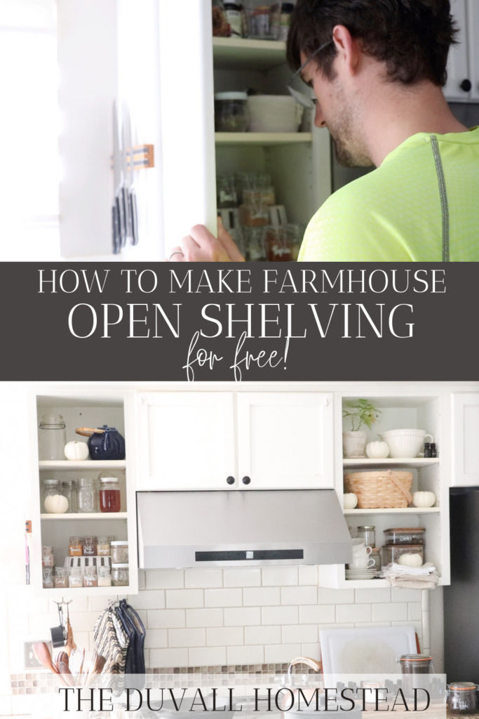 My husband figured out this open shelving hack and it stirred me to get the whole kitchen organized. Read more about it on the blog!  #farmhousekitchen #openshelving #diyopenshelves #hack #farmhouse #farmhousedecor #kitchenorganization #kitchen #diy #easy #homedecor