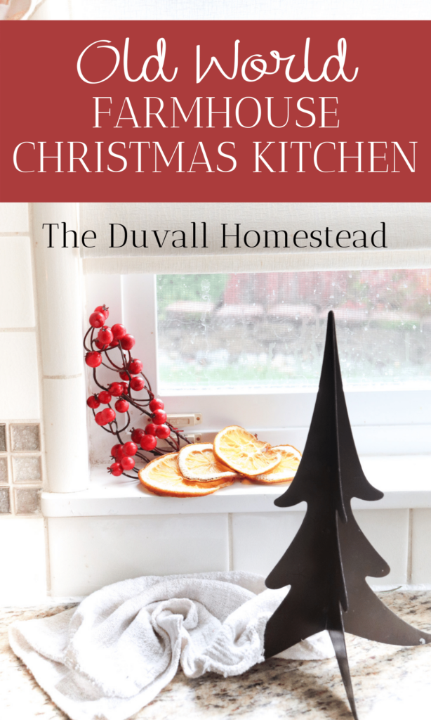 Join me for an old world farmhouse Christmas kitchen tour! I used simple antiques and homemade items to bring some holiday joy into our kitchen this season.   #oldworld #farmhouse #christmas #kitchen #tour #farmhousedecor #farmhousechristmas #christmasdecor #farmhousedecorating #christmaskitchen #kitchendecor #openshelving #simple #minimal #antique #vintage