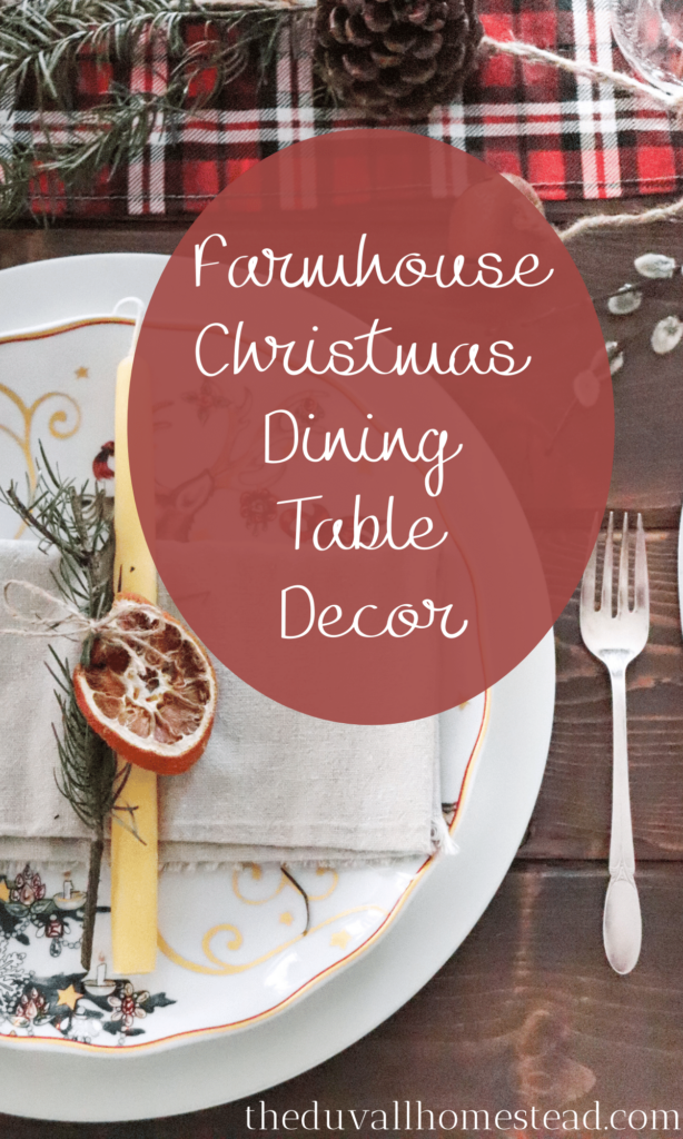 Get inspired to create a rustic farmhouse Christmas dining table setting with your own two hands to enjoy all season long. If there is any time of year to go all-out on the dining table decor, Christmas is the perfect fit. With a few handmade items and a teeny tiny surprise for your guests, you might just create a magical dinner that will be remembered well into the new year.   #christmas #diningtable #tablesetting #table #farmhousetable #tablescape #diy #homemade #handmade #christmasdecor #farmhousedecor #farmhousechristmas #rustic