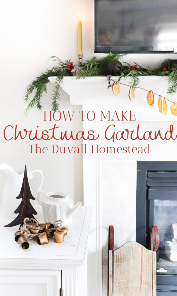 Learn how to make this easy DIY Christmas garland for your mantle or staircase this year. I love the smell of fresh greens and oranges, and creating my own home decor with my two hands.   #diychristmasgarland #howtomakegarland #christmasdecor #farmhousedecor #farmhousechristmas #diychristmas #diy #farmhouse #christmas #decor #garland #mantle #fireplace #livingroom #homedecor #inspiration