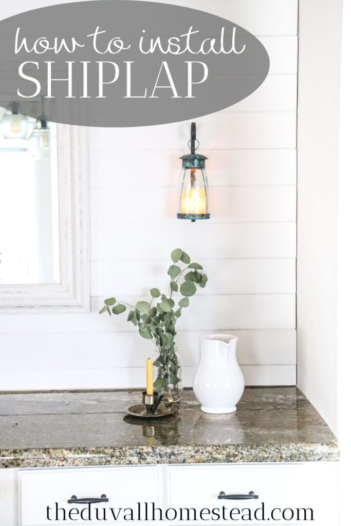 An easy DIY tutorial for how to install shiplap. Details and printable instructions included. Also, join me for a tutorial on how I styled our dining room shiplap accent wall!  #shiplapwalls #shiplapaccentwall #howtoinstallshiplap #diyshiplap #diyshiplapaccentwall #farmhouseshiplap #farmhoue #farmhousedecor