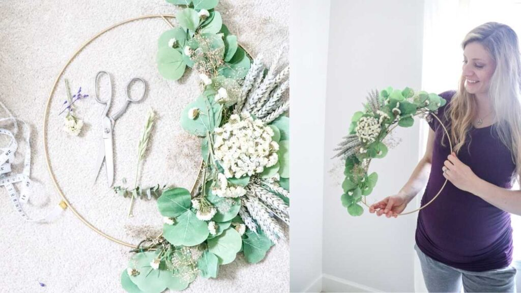 A bouquet of dried flowers turned into a beautiful hoop wreath.