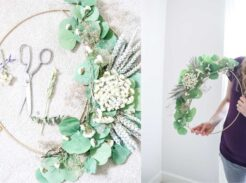 dried floral hoop wreath easy DIY for nursery and farmhouse decor