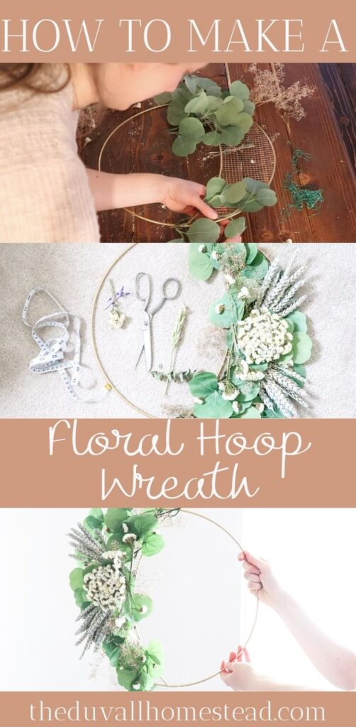 Learn how to make this floral hoop wreath for your farmhouse home decor with this simple tutorial. Take any bouquet of dried flowers and turn it into a simple wreath for your living room, nursery, or front door.   #hoopwreath #diy #floralwreath #floralhoopwreath #howtomakeawreath #flowers #flowerwreath #nursery #decor #farmhouse