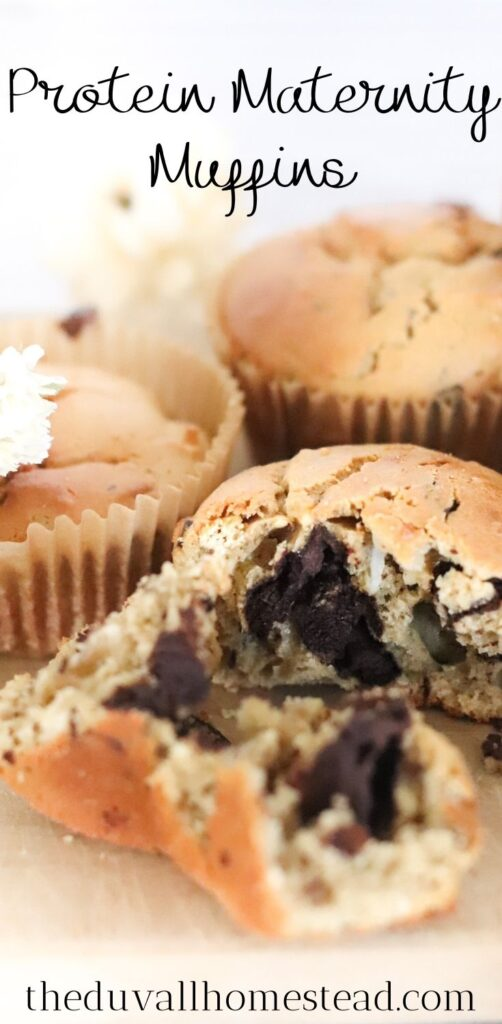 These delicious protein pregnancy muffins are both sweet and healthy, making them the perfect go to snack for maternity. With chocolate chunks, protein powder, and nutritious toppings, these muffins satisfy that mom-to-be late afternoon craving without feeling guilty.   #pregnancymuffins #pregnancy #maternity #muffins #snack #delicious #yum #recipes #healthyrecipes #protein