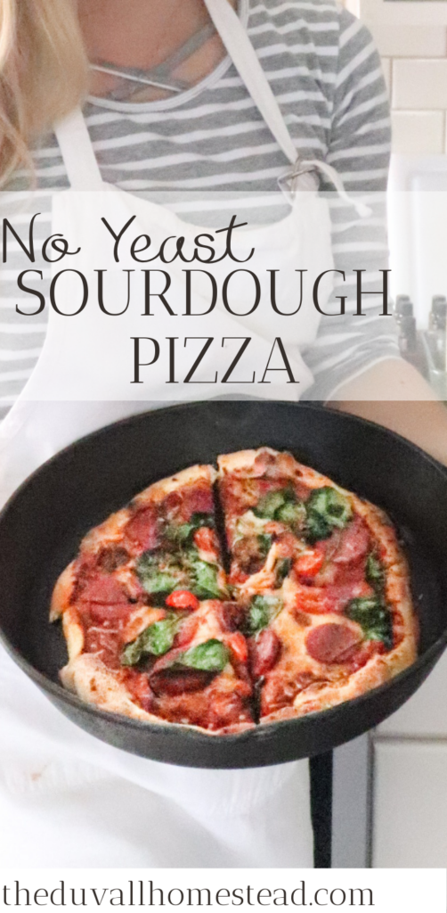 "Crispy on the outside and chewy on the inside, this sourdough pizza crust uses no yeast and makes what we call ""better than restaurant"" pizza.   #sourdough #pizza #noyeast #pizzacrust #sourdoughpizzacrust #sourdoughstarter #healthydinner #healthymeals #healthy #recipes #healthyrecipes #dinnerideas #castironsourdoughpizza #castironmeals #castirondinnerideas #guthealthy #fermentedfood"